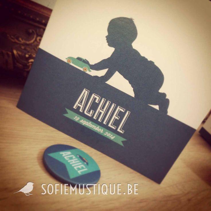 Geboortekaartje Achiel | Birth Card | silhouet, jongetje, auto, speelgoed, banner, vlagje, modern, retro, vintage | sofiemustique.be