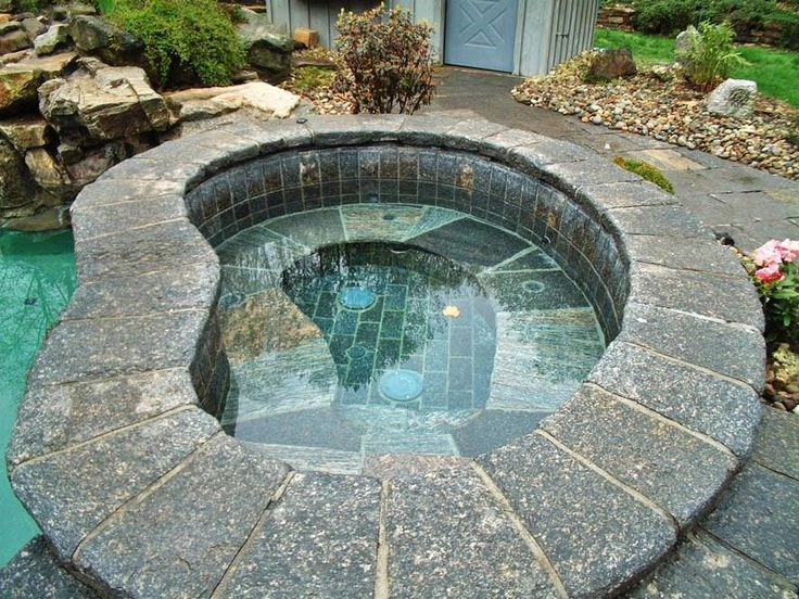 Traditional Hot Tub with Raised beds, Pathway, exterior stone floors