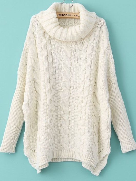 White Long Sleeve Turtleneck Chunky Cable Knit Sweater - Fashion ...