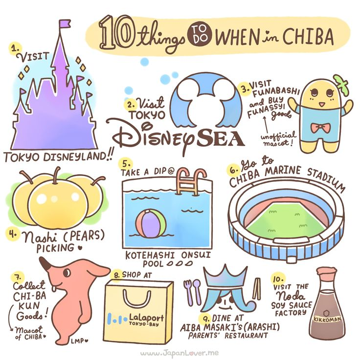 Welcome to Chiba~! (。´∀`)ノ JapanLover Yuna from Sydney, Australia (http://yuna-dayo.blogspot.com.au/) helped us list 10 things you can do. Art by Little Miss Paintbrush