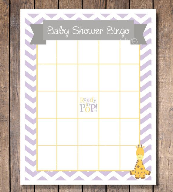Chevron Giraffe Baby Shower Bingo Game Instant Download