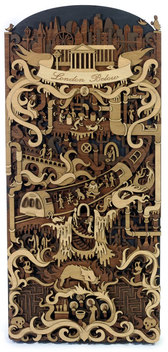 Layered, laser cut, plywood illustration depicting London Below from the fantastic Neverwhere by Neil Gaiman. Approximate size is 195 mm by 430 mm and 30