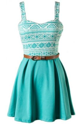 Sleeveless skater dress with belt 74% Polyester, 23% Rayon, 3% Spandex