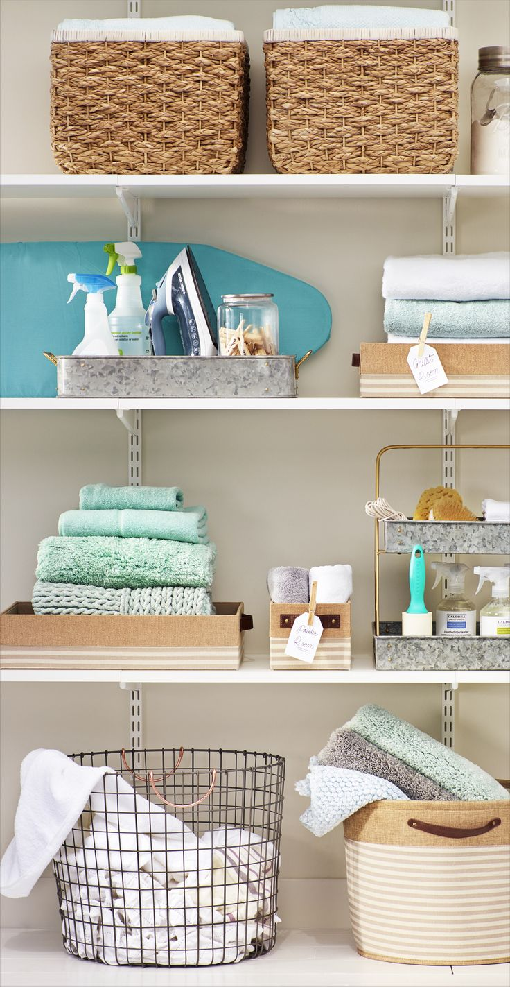 We'll let you in on a little secret—you can turn your messy laundry room into the chamber of organization with a few thoughtfully chosen storage bins, caddies, containers and a box or two!