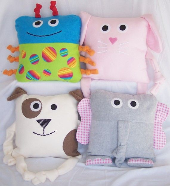 Animal pillows! The possibilities are endless!!!! You could have animals, houses, beach huts, Santas face, vintage vw campers, TV set, Santas jacket would be cute done in red velvet with white fur up the middle, 2 black buttons and a black belt with a silver/gold buckle