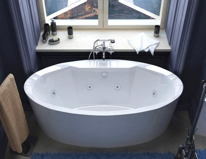 """Salina 67.18"""" x 33.43"""" Oval Freestanding Whirlpool Jetted Bathtub with Center Drain"""