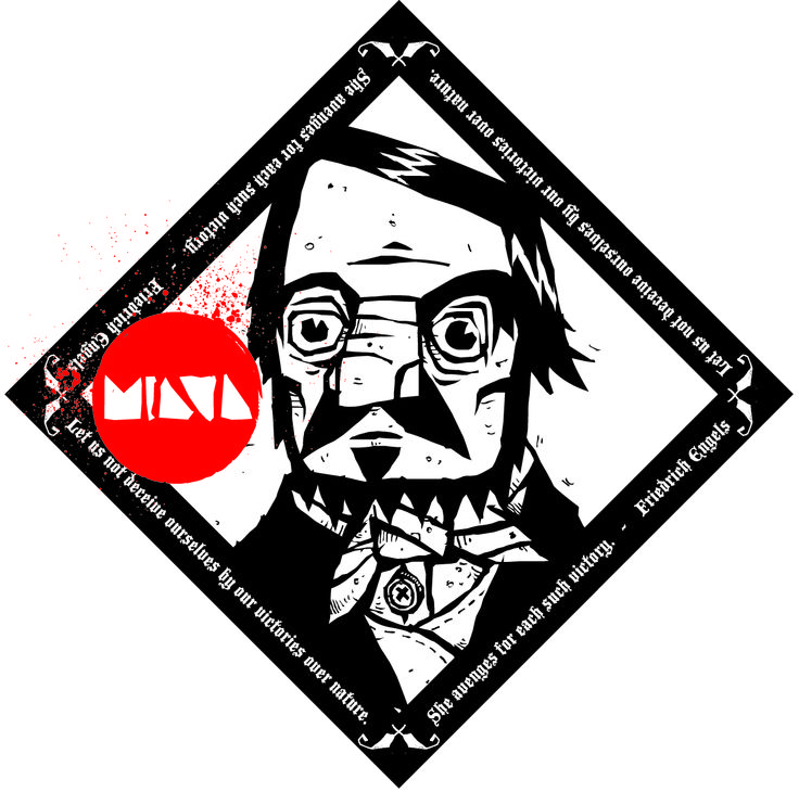 Illustration for sticker. Concept: Friedrich Engels.  Miava is a great postrock band! you should check them out.