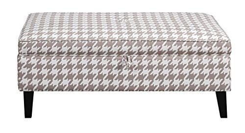 Scott Living Upholstered Storage Ottoman Beige And Dark Brown