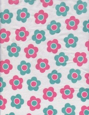 KNIT Fabric: Cute daisies on white. Cotton lycra fabric. Sold by 1/2 yard. by MyDarlingFabrics on Etsy