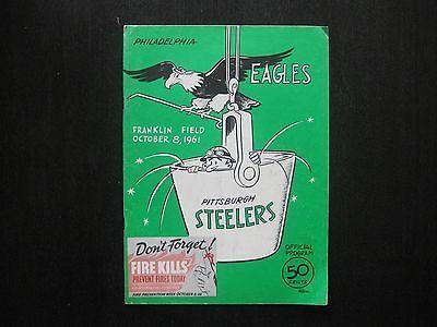 1961 Philadelphia Eagles Pittsburgh Steelers Football Program Franklin Field