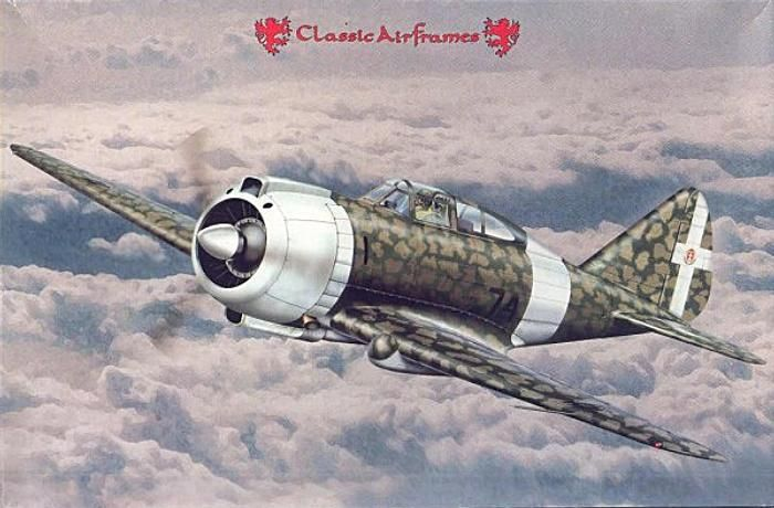 The Caproni-Reggiane Re.2000 Falco-I was an Italian all metal, low-wing, monoplane with a Curtiss-style retractable undercarriage, used in the first part of World War II. This lightly built and highly maneuverable interceptor/fighter, similar to the Seversky P-35, flew for the first time in 1939. It proved a technically advanced aircraft, well balanced and extremely aerodynamic, but not without its faults.