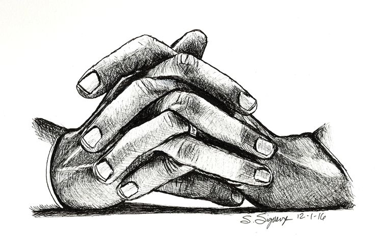 Drawing of President Obama's hands, sketch of Obama's hands, drawing of folded hands.