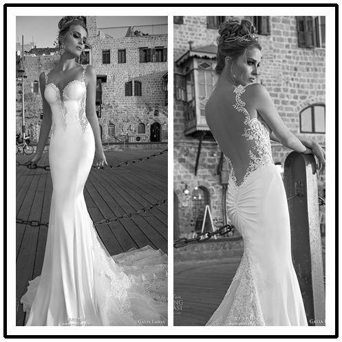 Galia lahav 2015 primavera abito da sposa sirena abito da sposa spaghetti elegante pizzo applique lungo sexy in  da  su Aliexpress.com