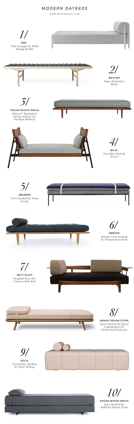 1 | Palo Lounger by HEM Design Studio (HEM, €1099)2 | Align Daybed by Menu (Wayfair, $2399.99)3 | Nelson™ Daybed by George Nelson for Herman Miller® (Design Within Reach, $2775+)4 | Traveller Daybed P