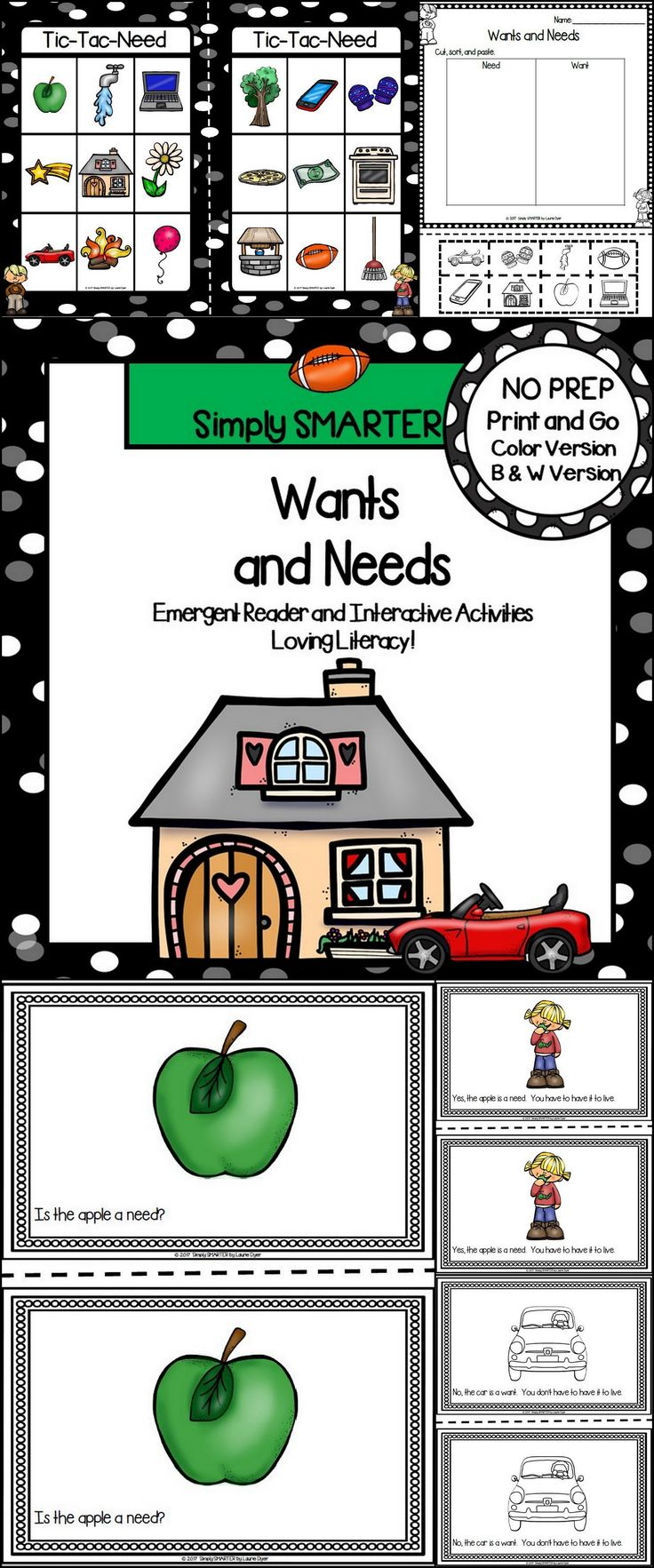 Are you looking for a NO PREP reading activity for preschool, kindergarten, or first grade? Then use these activities for guided reading, shared reading, independent reading, social studies, or homework. Children can choose a colored version or a black and white version of a 17 page reader. The reader contains a patterned sentence on each page and informs children about needs and wants. Children will reinforce what they read by completing the response page and by playing the board game.