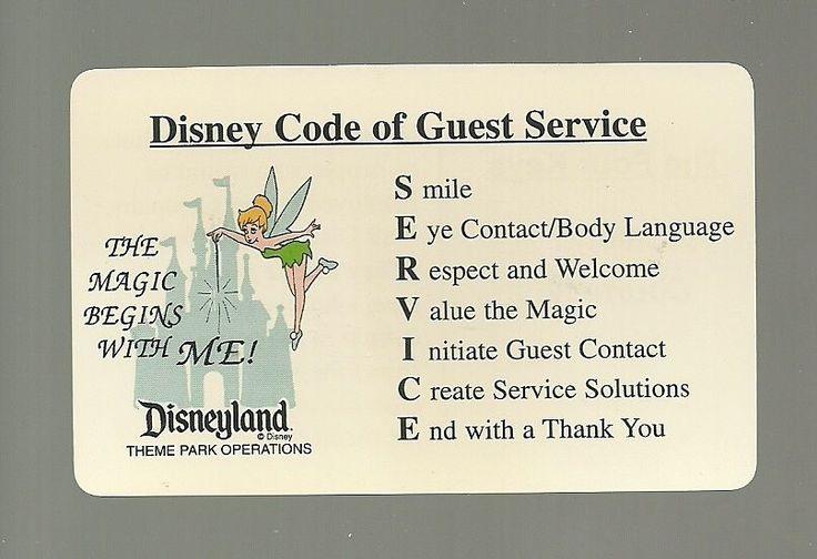 DISNEYLAND DISNEY CODE OF GUEST SERVICE CAST MEMBER CARD RARE!!