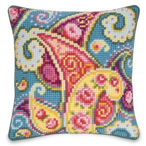 Paisley Garden Pillow Top - Cross Stitch, Needlepoint, Stitchery, and Embroidery Kits, Projects, and Needlecraft Tools | Stitchery