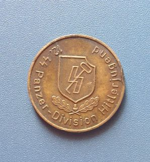 WAFFEN SS 12. SS PANZER DIVISION HITLERJUGEND MEDAL COIN TOKEN GERMAN WW2 PRICE $499