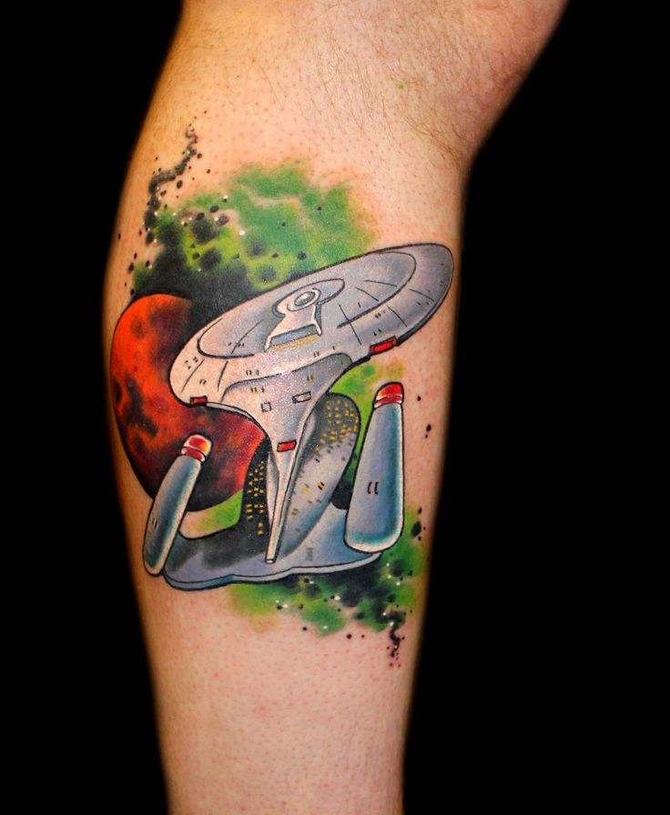 Star Trek Enterprise D tattoo tattoo by Chris 51 of Area 51 Tattoo, Springfield, OR & Epic Ink TV A&E