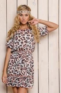 Платье розовое леопард