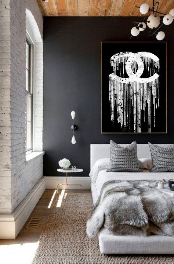 chanel dripping 2 art print chanel poster - black and white Coco Chanel liquidated logo - chanel art chanel artwork, chanel decor watercolor