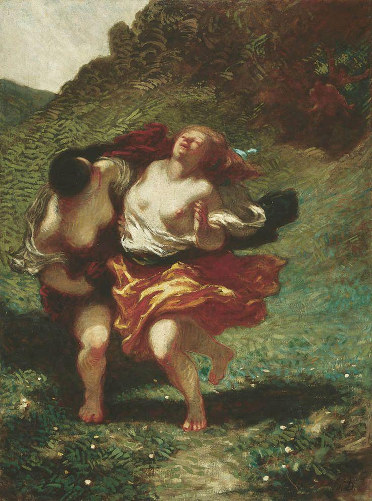 drakontomalloi:  Honoré Daumier - Women Pursued by Satyrs. 1850
