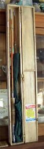 Vintage-Olympic-Fly-Rod-3-Tips-8-foot-Fishing-Outfit-Box-Ueno-Seiko-Tokyo-Japan