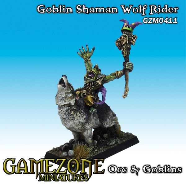 Gamezone Miniatures: Orcs and Goblins - Goblin Shaman Wolf Rider(1)