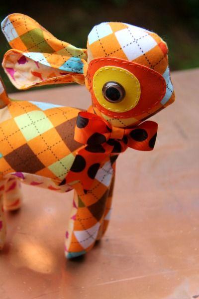 "OOAK Funky Bambi ""Argyle Sweatshirt"" by FHS / Funky Homo sapiens - Funky Plush - Funky Bambies / Funky Homo sapiens"