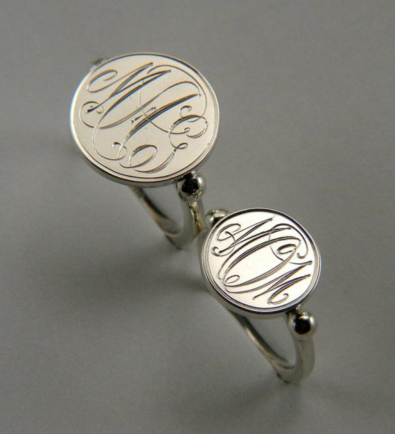 MONOGRAM RING Sterling Silver by ElmhillDesigns on Etsy