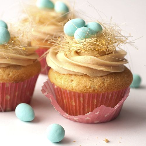 Threads of spun sugar create the nest on these cute cupcakes