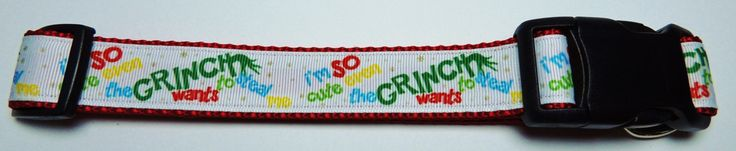 "Large ""I'm So Cute, Even The Grinch Wants To Steal Me"" Dog Collar by WildThingzPetGear on Etsy"