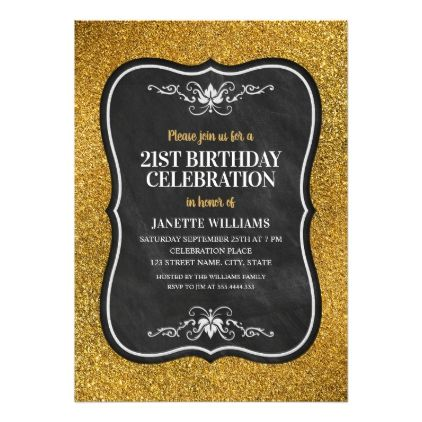 #Fancy Golden Glitter Adult 21st Birthday Party Card - customized designs custom gift ideas