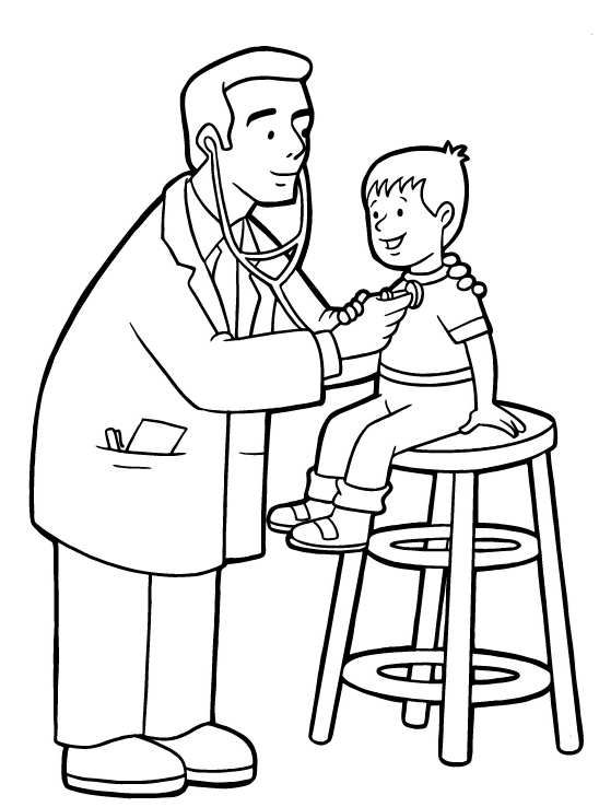 Doctor Checking Up A Child In Community Helper Coloring Pages For Kids