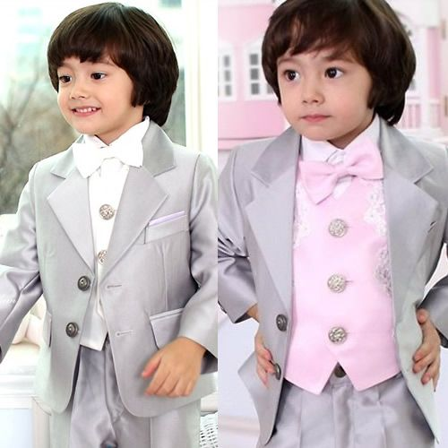 baby little big boys silver gray tuxedo dress suits clothes 5 piece sku 132024