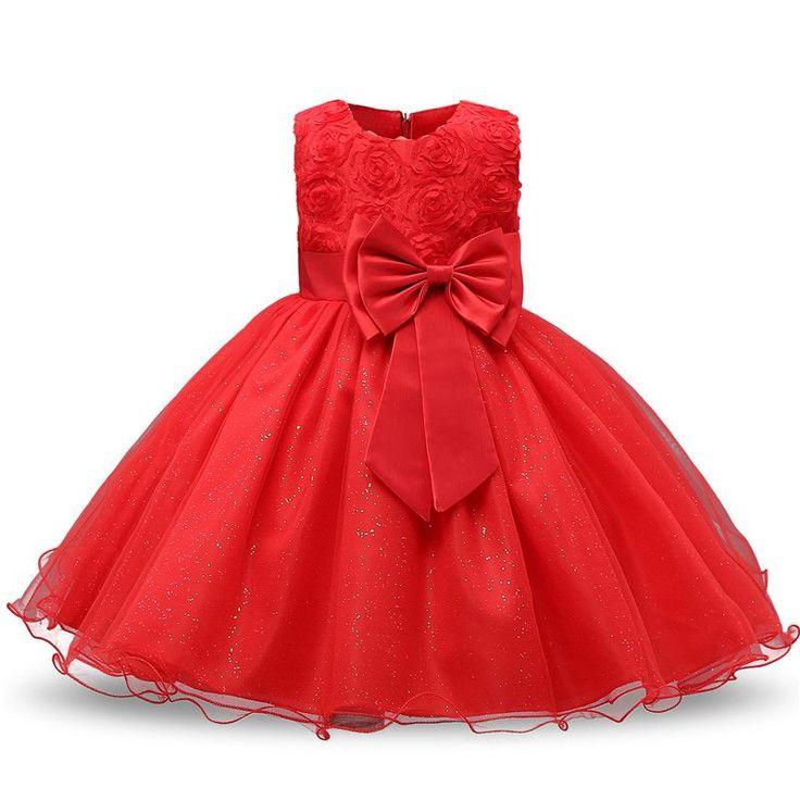Pasgeboren baby dress kids party dragen prinses kostuum voor meisje tutu Bebes Zuigeling 1 2 Jaar Verjaardag Jurken Meisje Zomer Rode Kleren