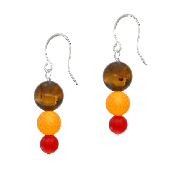 Sasta Spice Gemstone Earrings - Sasta Spice glows with the natural beauty of semi precious gemstone. 8mm golden chocolate tiger's eye, 6mm yellow quartz and 4mm red agate semi precious gemstones combine in perfect harmony to create a captivating design.  These earrings boast a stylish femininity and charm that make them the perfect accessory for any style.