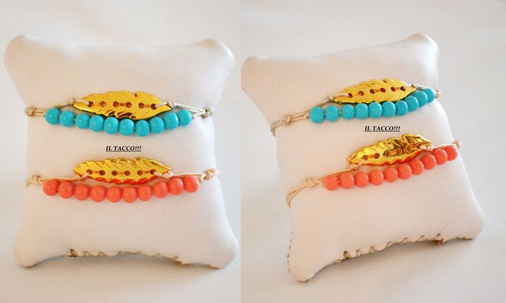 Double bracelets, gold feather, acrilyc beads, light blue, coral!!! Spring time!!! Il Tacco!!!