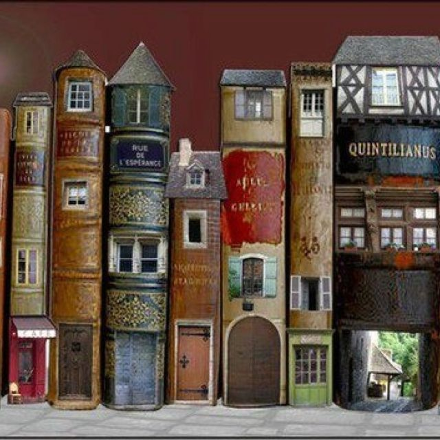 Fairy Books (doll house doors and windows in vintage books) library not a fairy garden I know but inspiration