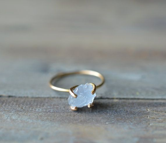 Celestite Ring. Raw Light Blue Gemstone Ring. Blue and Gold