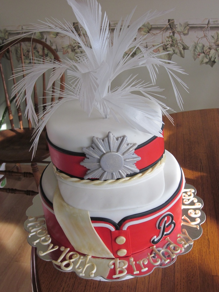 Marching Band Cake - Cake for Drum major in marching band.  Madt to look like her uniform.  Feathers made with wafer paper.  Thanks for looking.
