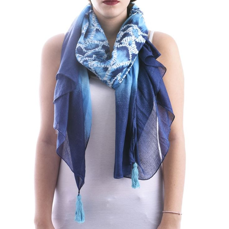 SCARF/PAREO IN BLUE COLOR TIE DIE - Scarfs/Sun Dresses