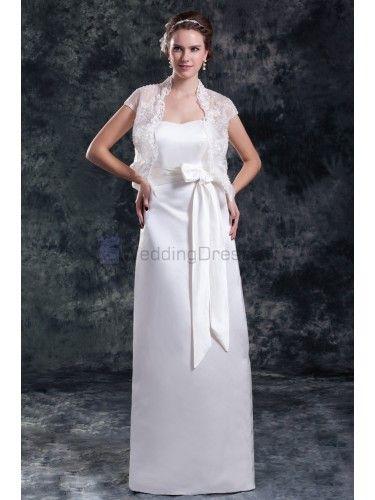 Satin Strapless Floor Length Column Sash Wedding Dress with Jacket