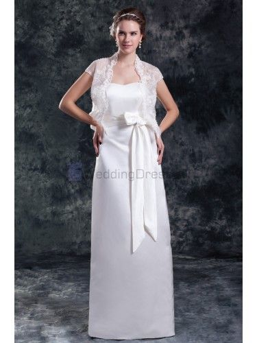 Satin Strapless Floor Length Column Sash Wedding Dress with Jacket
