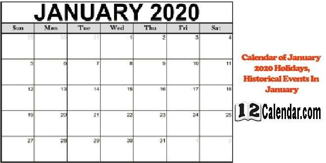 Calendar Of January 2020 Holidays Historical Events In January