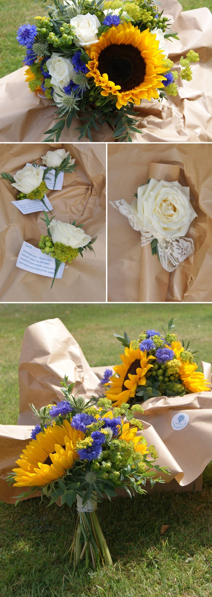 Florissimo, Shropshire - Flowers for weddings, events and businesses in Shropshire and beyondBright summery hand-tied bridal bouquet of yellow sunflower, blue cornflower, blue eryngium thistle, green hypericum berries, green bupleurum and white avalanche roses.  Wedding buttonholes of white avalanche rose, green hypericum berries and green bupleurum. Lace wrist corsage with white avalanche rose. Great for an informal cottage garden feel.
