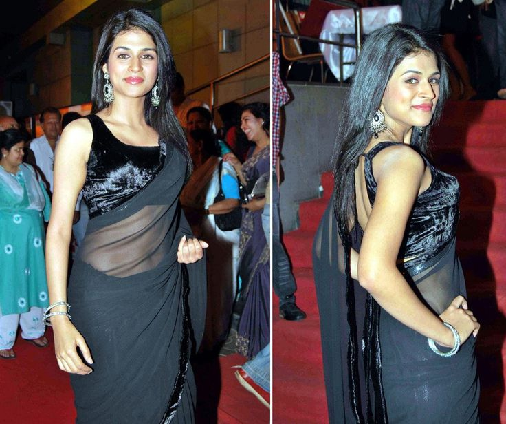 Shraddha Das Chiffon Lace Work Black Plain Saree - S0015