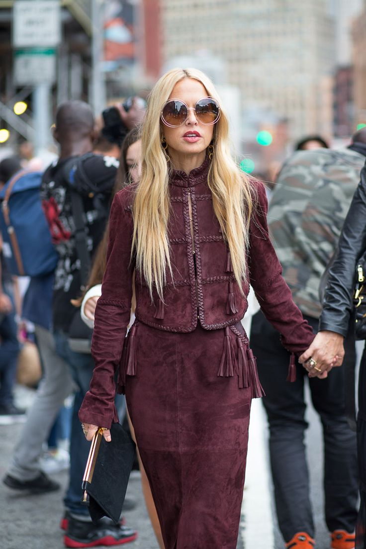 New York Fashion Week Street Style Spring 2016 - #NYFW #StreetStyle | Rachel Zoe in suede burgundy ensemble: