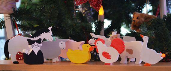 Waldorf Farm Animal Set Wooden Farm Animal Set Organic Toy
