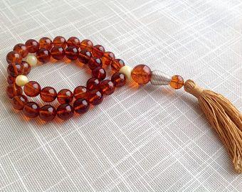 Authentic Baltic amber Islamic Rosary 33 Prayer Beads Muslim rosary red color round shape الكهرمان